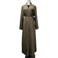 mano kimonos al por mayor-Mujeres ropa mano perla abalorios diseños de parche cardigan musulmán vestido maxi islámico abaya oriente medio kaftan túnica turca kimono