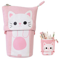 Wholesale stationery stores for sale - Group buy Transformer Stand Store Pencil Holder Canvas PU Cat Telescopic Pencil Pouch Bag Stationery Pen Case Box with Zipper Cartoon Design WJ032