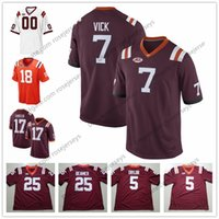 Wholesale Xl Tech - NCAA Virginia Tech Hokies #7 Michael Vick 5 Tyrod Taylor 17 Kam Chancellor 25 Frank Beamer White Orange Red College Football Jerseys S-3XL