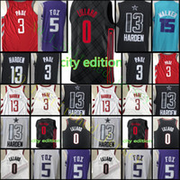Wholesale men s basketball 13 - 2018 New Damian Lillard city Jersey Men s James Harden Chris Paul De Aaron Fox Kemba Walker Basketball Jerseys