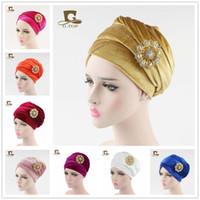 broche senhoras indianas venda por atacado-Mulheres de Luxo hijab veludo Turbante Cabeça Envoltório Extra Senhoras Longo tubo de veludo indiano Headwrap Cachecol Laço com o broche de jóias