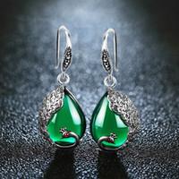 indischen pfau schmuck großhandel-EDI Vintage Green Chalcedon Naturstein Ohrringe Antiallergic Pfau Form Bohemian Indian Schmuck Für FrauenY1882803