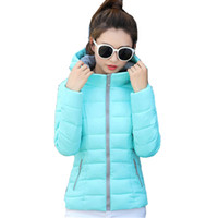 Wholesale white padded shorts online - Candy Color Hooded Winter Women Basic Jacket Cotton Padded Casaco Feminino Womens Slim Short Outerwear Womens Coat