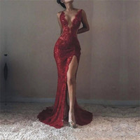 Wholesale michael costello evening gowns for sale - Group buy 2018 Michael Costello Mermaid Lace Sexy Prom Dresses Plunging V Neck High Front Split Evening Gowns Formal Custom Made Celebrity Dresses