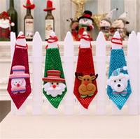 Wholesale led christmas ribbon - New style Children Christmas Tie LED Sequins Tie Santa Snowman Little Bear Tie Fashion Xmas Party Decorations T5I021