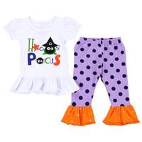 bruja superior al por mayor-Los bebés de Halloween trajes de niños de la impresión de la bruja top + Dot volantes flare pantalones 2 unids / set 2018 moda Boutique niños Ropa Conjuntos C4830