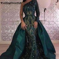 longo verde prom vestidos venda por atacado-Long Green Arábia Árabe Vestido 2019 com destacável saia Dubai Formal Prom Vestidos Vestido Formatura Longo