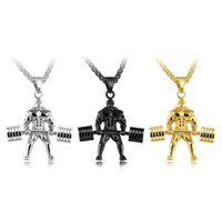 Wholesale basketball weights - 3 Colors Trend Personality Titanium Steel Hercules Weight Lifting Pendant Gold Korean Men Pendant Necklace Support FBA Drop Shipping G872F