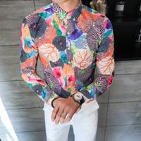 fantastische farbhemden großhandel-2018 New Casual Shirt Männer Langarm Vollfarbdruck Slim Fit Designs Fancy Shirts Mann Komfortable Tendy Streetwear Kleidung