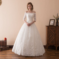 Wholesale Cap Sleeve Embroidered Wedding Dress - vestidos de novia beteau Lace Ball gown 1 2 Sleeves wedding dresses 2018 casamento Lace beading Wedding gowns 6680