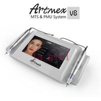 tuhaf döner toptan satış-Artmex V8 dokunmatik Dövme Makinesi seti Göz Kaş Dudak Döner Kalem MTS Sistemi Dijital dövme kalem Makyaj makinesi