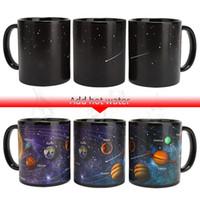 becher tasse box großhandel-Keramische Kaffeetasse Farbwechsel Kaffeetasse Empfindliche verwandelnde Becher Temperatur Sensing Geschenk Stern Solar System Verfärbung Cup Color Box