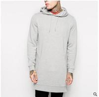 Wholesale Sleeve Extra Long - Black fallow mens longline hoodies men fleece solid sweatshirts fashion tall hoodie hip hop side zipper streetwear extra long hiphop