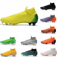 Wholesale mens laced leather boots - 2018 Mens Mercurial Superfly VI 360 Elite Ronaldo FG CR soccer shoes chaussures football boots high ankle Soccer Cleats