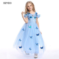 Wholesale White Knee Length Frocks - Elegant Cinderella Costume For Girl Dresses Carnaval Children Bow Lace Party Princess Dress Kid Prom Pageant Bridesmaid Frock