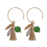 Wholesale trendy ear cuffs - Tassel Ear Clip Earrings for Women Trendy Vintage Leaf Bead Fringe C Clip on Earring Fashion Jewelry Accessories