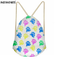 Wholesale backpack patterns for kids resale online - INSTANTARTS Paws Pattern Women Drawstring Bag Fashion String Backpack for Girls Boys Casual Small Kids School Bagpack Sack Teens