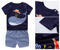 Wholesale Cute Outfits For Boys - 2018 Boys Girls Summer Cotton Clothing Short Set Cute Print Short Sleeve T-shirt+Shorts Outfit For Children Kids Outwear 2pcs set