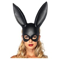 Wholesale White Rabbit Ears - Bunny Girl Mask PVC Half Face Rabbit Ear Shape Masks For Christmas Halloween Party Cosplay Glyptostrobus White Black 6rh B