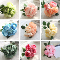 ingrosso sposa bouquet di peonies-10 Colors Peony Artificial Flowers Peony Imitation Flowers Wedding Bride Bouquet Home Party Decorative Flowers T2I251