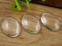 bolas de engaste al por mayor-8pcs / lot 18x25mm Oval espalda plana transparente vidrio Cabochon, alta calidad, perder dinero promoción! (Z3-06)
