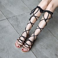 e5e25139e168 YMECHIC 2018 Cross Tied Lace Up Long Rome Sandals Ladies Shoes Summer Black  Large Size Flat Knee High Gladiator Sandals Women
