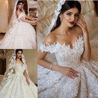Wholesale wedding dresses small trains for sale - Group buy 2018 Gorgeous Crystals Lace Ball Gown Wedding Dresses Dubai Sweetheart Neckline Puffy Bridal Gown Vestido de novia Small Train Custom Made