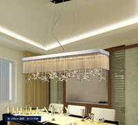 Wholesale modern rectangular pendant light - Free freight Modern Rectangular k9 Crystal Chandeliers Lighting for Dining Room Bedroom Living Room Pendant Lamp LLFA