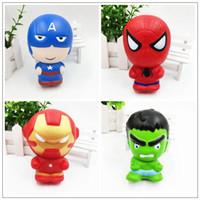 los hombres de hierro se levantaron al por mayor-Spider-man Squishy Avengers Heros Cartoon Capitán América Charm Squeeze lento aumento Iron Man Squishies favor de fiesta CCA10110 40pcs