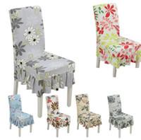 ingrosso copertina della sedia dell'increspatura dello spandex-Spandex Floral Dining Chair Covers 15 Stili Anti Sporco Pieghevole Stretch Ruffled Chair Cover Home Decor OOA5298