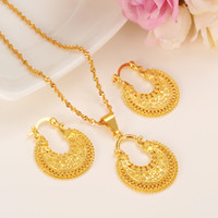 Wholesale 18k bridal necklaces set design for sale - Group buy gold Ethiopian Jewelry Set Pendant Necklace Earring Fashion dubai Design Gold Nigeria women girls wedding bridal set charms gift