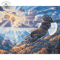 pinturas águias águias venda por atacado-Pinturas a óleo de colorir por números na lona águia montanha fotos desenhar por números na parede home decor art ofício presente W6761