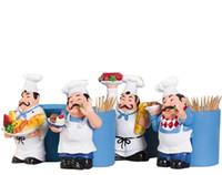 украшения для шеф-повара оптовых-Новые творческие украшения дома шеф-повар формы зубочистка держатели 4 шт. / компл.