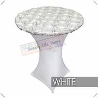 coberturas de mesa de coquetéis venda por atacado-Nice spandex branco puro com tampa de tabela de cetim branco rosette lycra tampa da tabela de coquetel toalhas de mesa de poliéster 10 pcs 80 cm * 110 cm