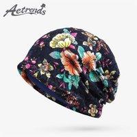 dünne beanies großhandel-[AETRENDS] 2017 Herbst Lace Floral Beanie Hüte für Frauen Thin Female Caps Slouchy Beanies Z-5345