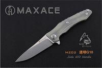 faca de jade venda por atacado-NOVO Jade G10 Maxace Zealot 440C Lâmina Stonewashed MRBS Rolamento Flipper Camping Faca Frete Grátis