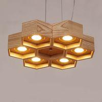 ingrosso lampade di legno fatte a mano-Lampada a sospensione vintage in legno 6 tipi Lampada a sospensione moderna in legno fatta a mano a mano semplice per soggiorno bar cafe deco