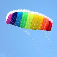 ingrosso gli aquiloni di stunt liberano il trasporto-Spedizione gratuita Dual Line 1.2 / 1.4 / 2 / 2.7 m Parafoil Flying Rainbow Sport Beach Stunt Aquilone Con Manico Ripstop Nylon Outdoor Kitesurf All'ingrosso