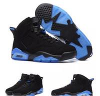 çocuklar için mavi basketbol ayakkabıları toptan satış-2017 Yeni varış 6 s UNC Çocuklar Basketbol Ayakkabı siyah ve mavi yüksek kalite 6 s Erkekler Çocuklar spor ayakkabı Sneakers B ...