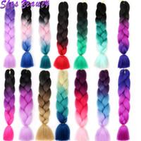 üç renk tonu ombre saç toptan satış-Kaliteli Ombre Sentetik Saç Uzantıları 100 g / adet Ombre Örgü Renk Saç Iki / Üç Ton Sentetik Yüksek Sıcaklık Fiber Saç
