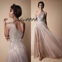 Wholesale One Shoulder Sequined Dresses Blue - Berta Evening Party Dresses 2018 Modest Fashion Prom Pageant Dress One Shoulder Sexy Full length Gown Occasion Dress Lace High Split