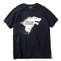 Wholesale Game Thrones T Shirts - Summer Top quality short anime sleeve game of thrones print men tshirt casual cotton winter is coming mens t shirts couple t shirt