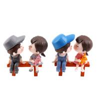 ingrosso fate in miniatura per i giardini-Mini Sgabello Coppie Bambole Fata Giardino Miniature Decor Casa Delle Bambole / Terrario Action Figure Figurine DIY Micro Paesaggio 3 Pz / set