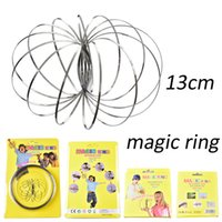 Wholesale Create Bracelets - Stainless Steel Metal Toroflux Flow Ring Decompression Toys Holographic by While Moving Creates a Ring Flow Rainbow Toys Bracelet OTH571