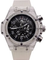 прозрачные кварцевые мужчины оптовых-Совершенно новые мужские роскошные кварцевые белые пластиковые часы из нержавеющей стали со стеклянной спинкой прозрачные спортивные часы Montre Homme