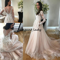 Wholesale romantic elegant sexy wedding dresses for sale - Group buy 2018 Romantic Wedding Dress Elegant with Illusion Long Sleeves Buttons Back Sheer Neck Tulle A Line Appliques Champagne Bridal Gowns