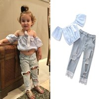 Wholesale child girls rip jeans resale online - 2018 new Children fashion Color Girls INS set girls stripe bow tops Ripped Jeans pieces set suit Baby kids clothing