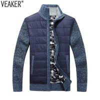suéter cardigan gris hombres al por mayor-2018 nuevos hombres gruesa capa de suéter masculino otoño invierno abajo suéter abrigo negro azul gris con cremallera suéter chaqueta chaqueta prendas de vestir exteriores M-3XL S18101801