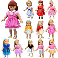 Wholesale Zapf Dolls - 15 Colors Princess Dress Doll Clothes Fit 43cm Baby Born Zapf Doll Clothes Accessories For 18 inch American Girl Dress