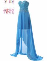 mariées, femmes de ménage, robes, fleur achat en gros de-Femmes Tulle Hi-Lo perles robe de bal robe de soirée